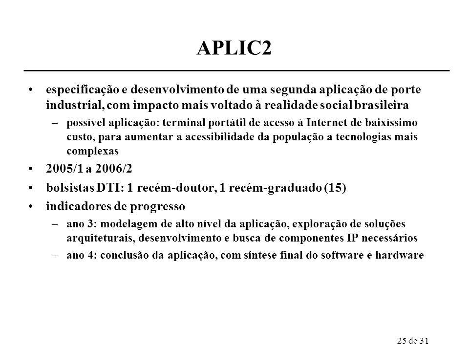APLIC2 especificação e desenvolvimento de uma segunda aplicação de porte industrial, com impacto mais voltado à realidade social brasileira.