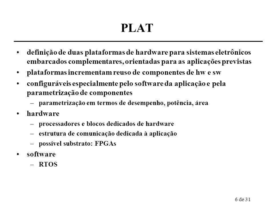 PLAT definição de duas plataformas de hardware para sistemas eletrônicos embarcados complementares, orientadas para as aplicações previstas.