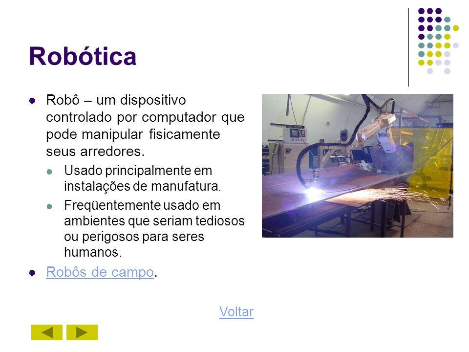 Robótica Robô – um dispositivo controlado por computador que pode manipular fisicamente seus arredores.
