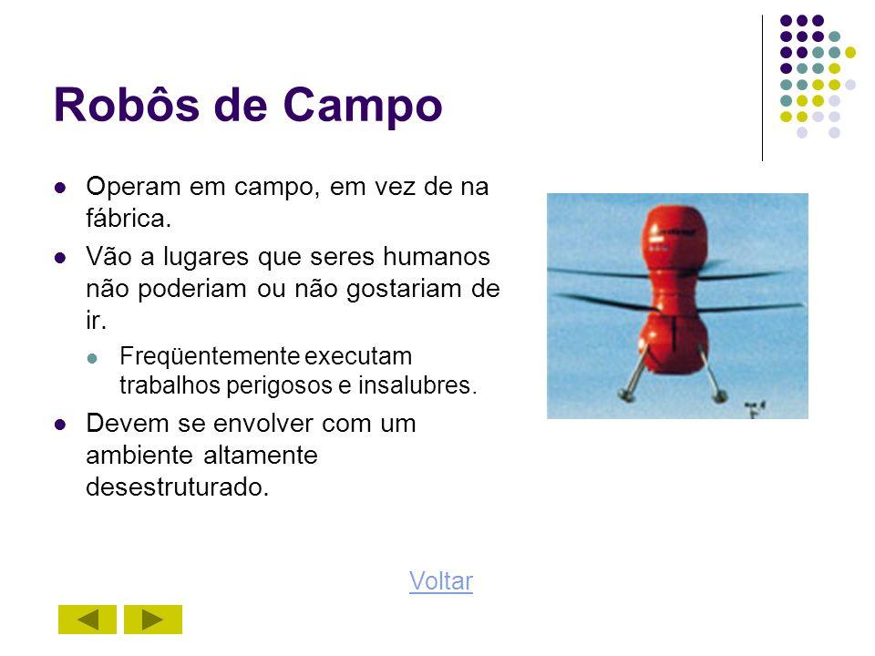 Robôs de Campo Operam em campo, em vez de na fábrica.