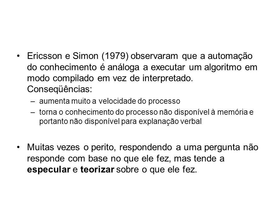 Ericsson e Simon (1979) observaram que a automação do conhecimento é análoga a executar um algoritmo em modo compilado em vez de interpretado. Conseqüências: