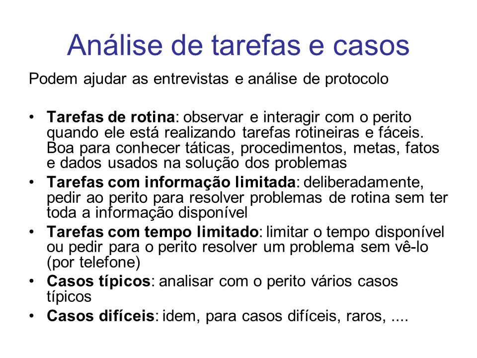 Análise de tarefas e casos