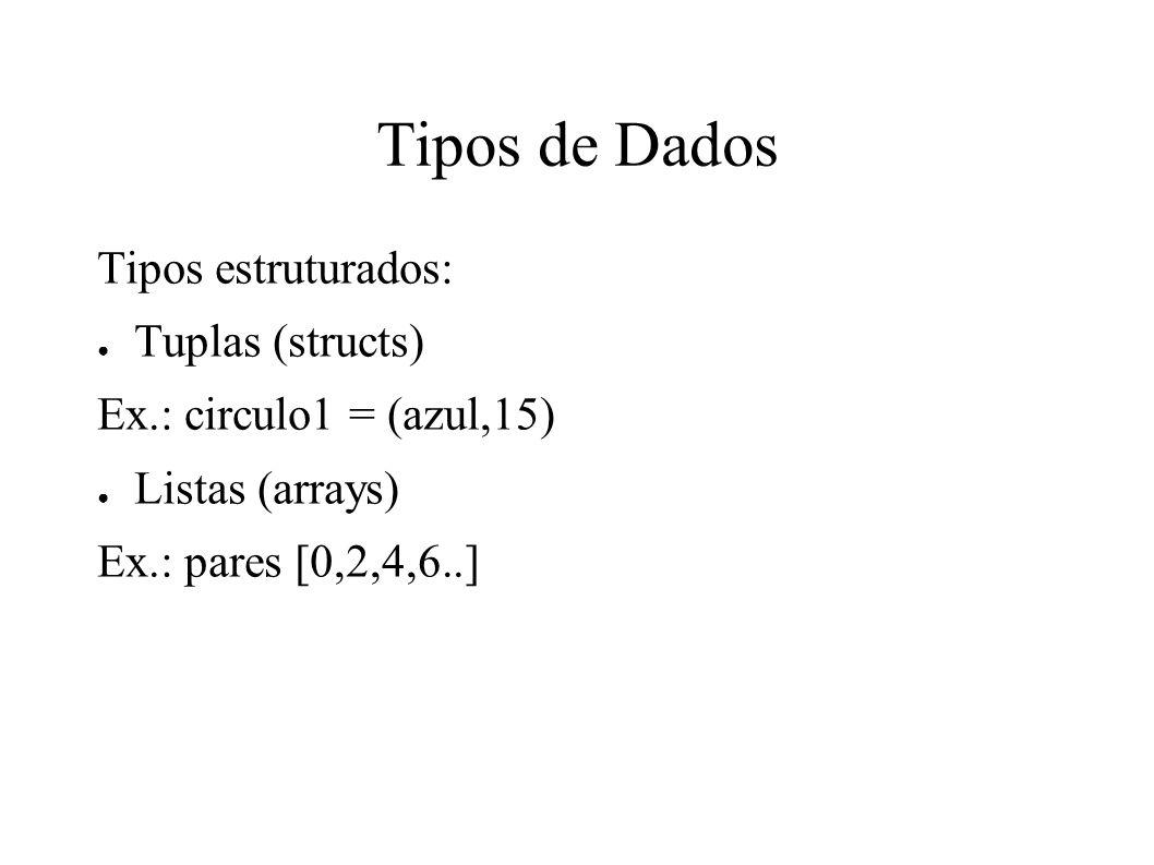 Tipos de Dados Tipos estruturados: Tuplas (structs)