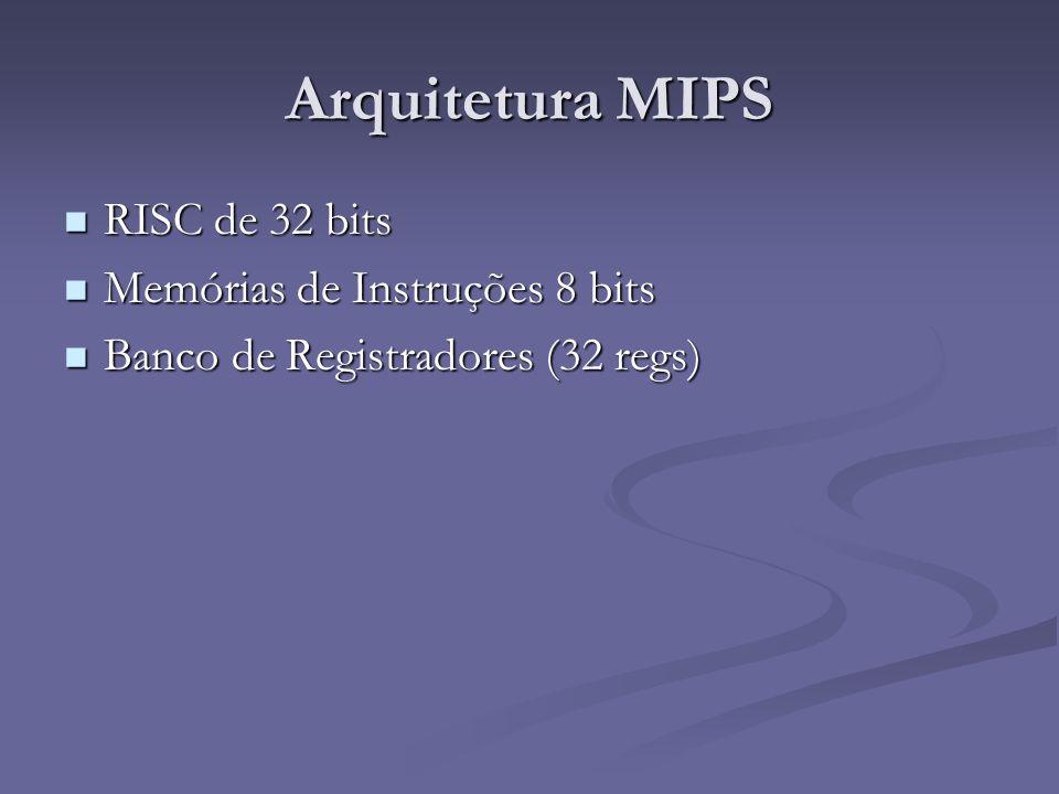 Arquitetura MIPS RISC de 32 bits Memórias de Instruções 8 bits