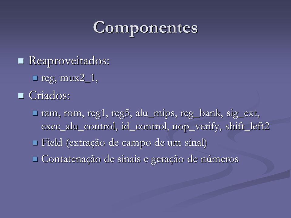 Componentes Reaproveitados: Criados: reg, mux2_1,