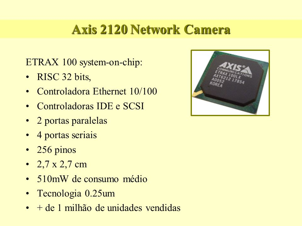 Axis 2120 Network Camera ETRAX 100 system-on-chip: RISC 32 bits,