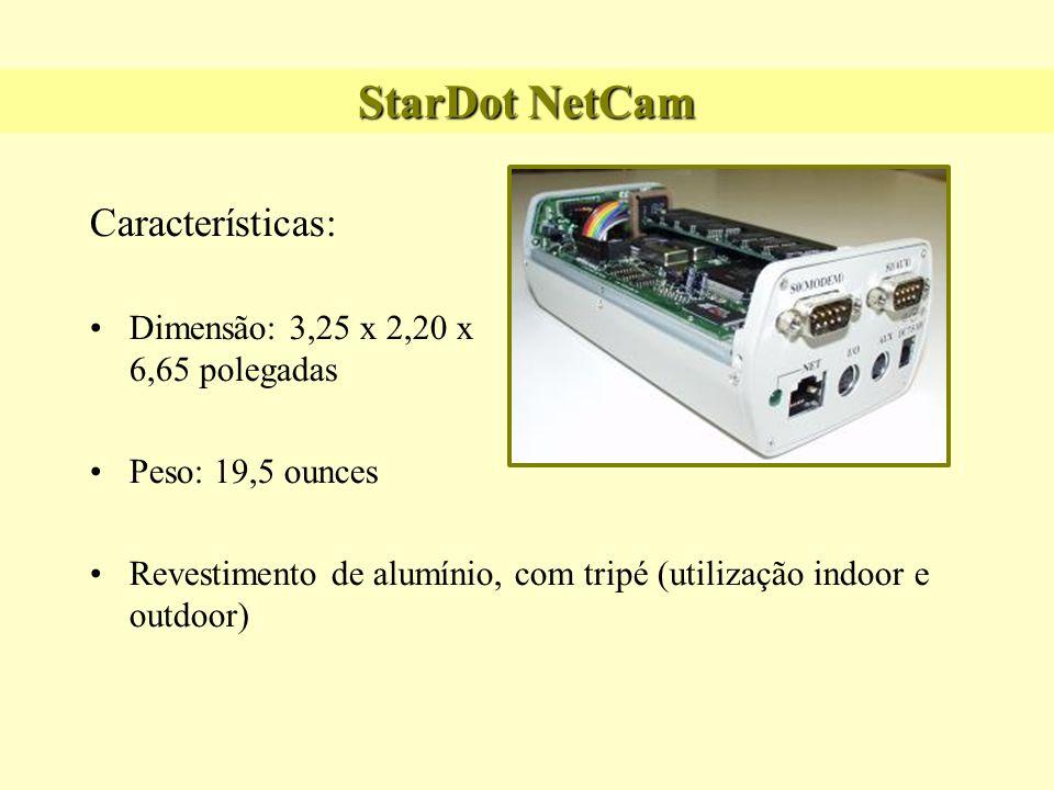 StarDot NetCam Características: Dimensão: 3,25 x 2,20 x 6,65 polegadas