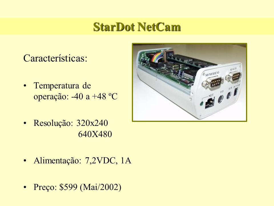 StarDot NetCam Características: Temperatura de operação: -40 a +48 ºC