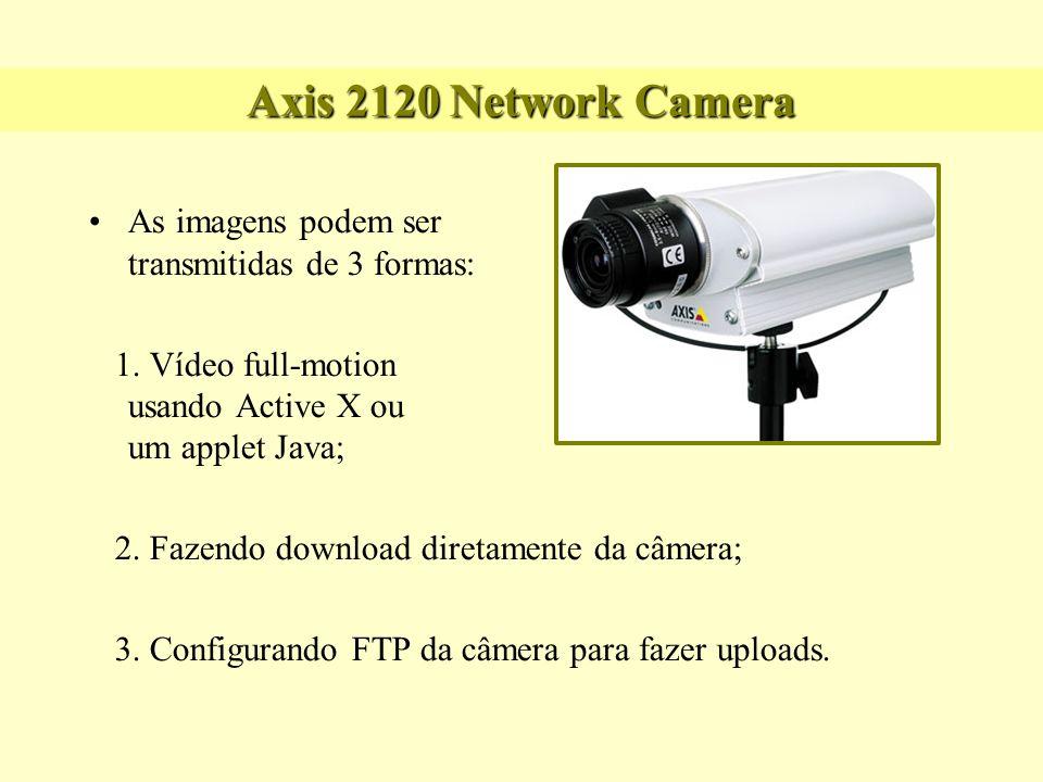 Axis 2120 Network Camera As imagens podem ser transmitidas de 3 formas: 1. Vídeo full-motion usando Active X ou um applet Java;