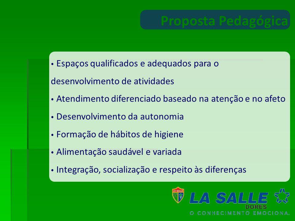 Proposta PedagógicaEspaços qualificados e adequados para o desenvolvimento de atividades. Atendimento diferenciado baseado na atenção e no afeto.
