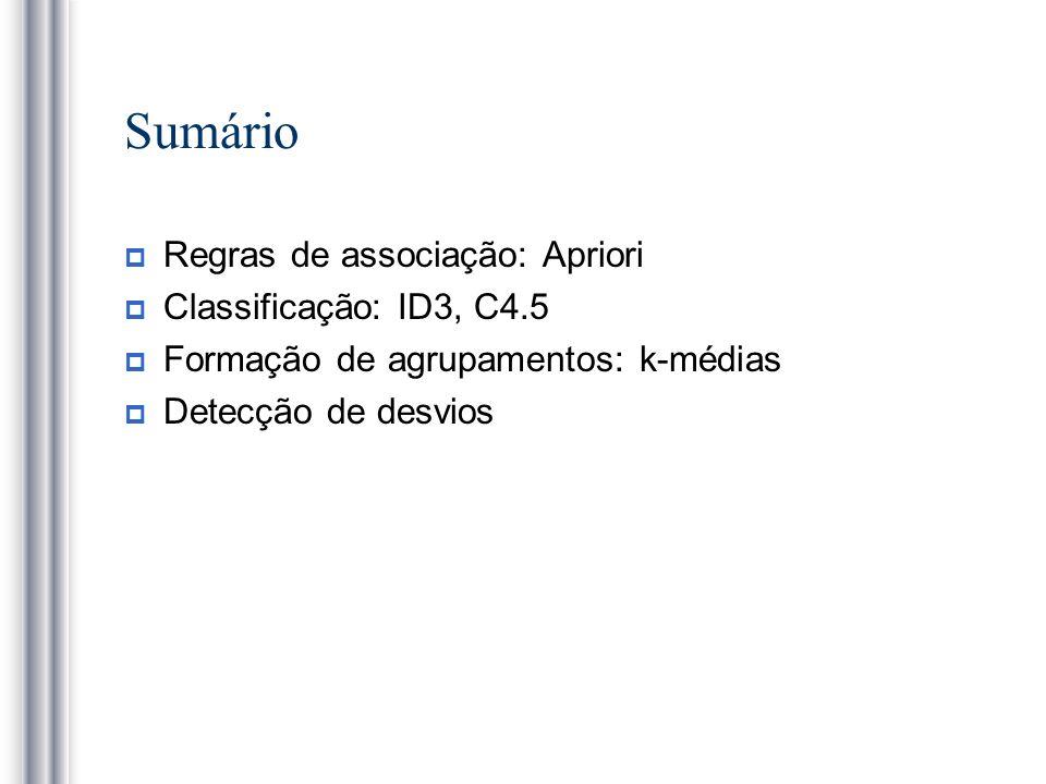 Sumário Regras de associação: Apriori Classificação: ID3, C4.5