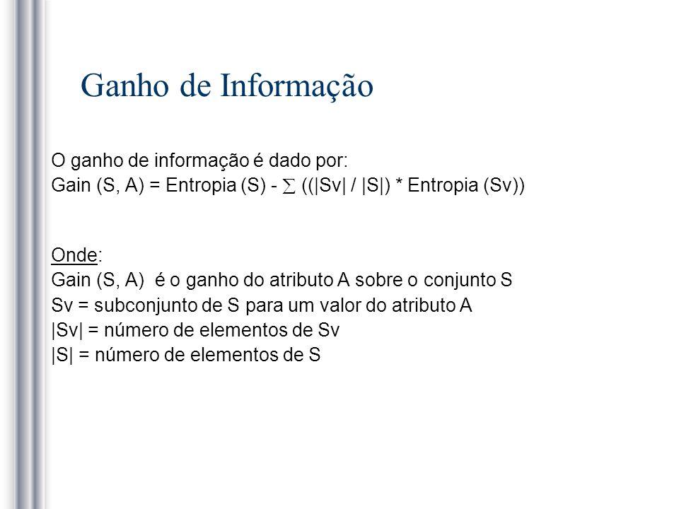 Ganho de Informação O ganho de informação é dado por: