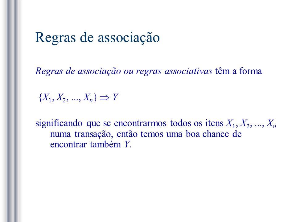 Regras de associação Regras de associação ou regras associativas têm a forma. {X1, X2, ..., Xn}  Y.