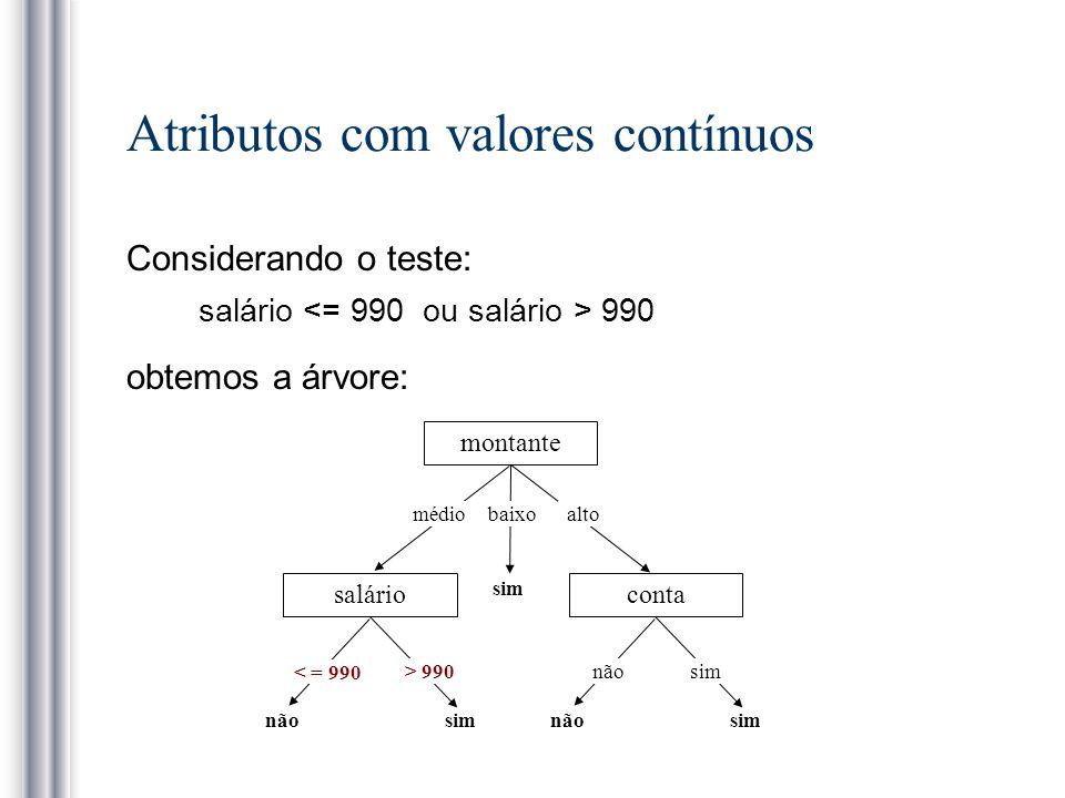 Atributos com valores contínuos