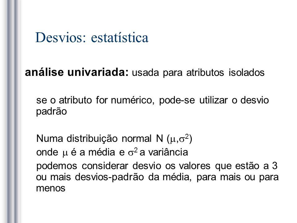 Desvios: estatística análise univariada: usada para atributos isolados