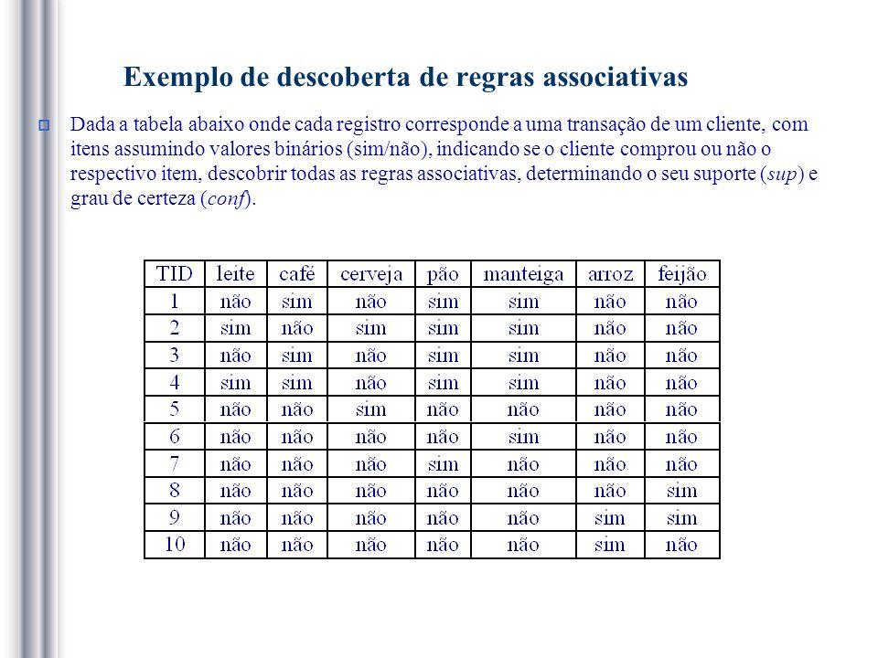 Exemplo de descoberta de regras associativas