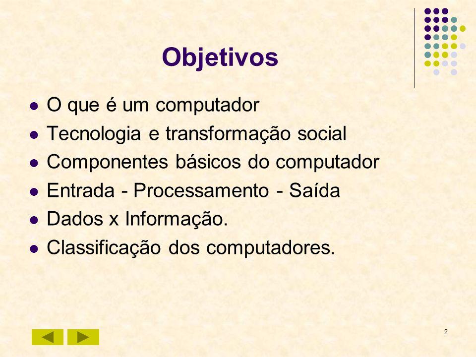 Objetivos O que é um computador Tecnologia e transformação social