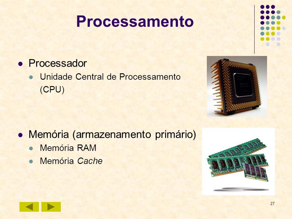 Processamento Processador Memória (armazenamento primário)