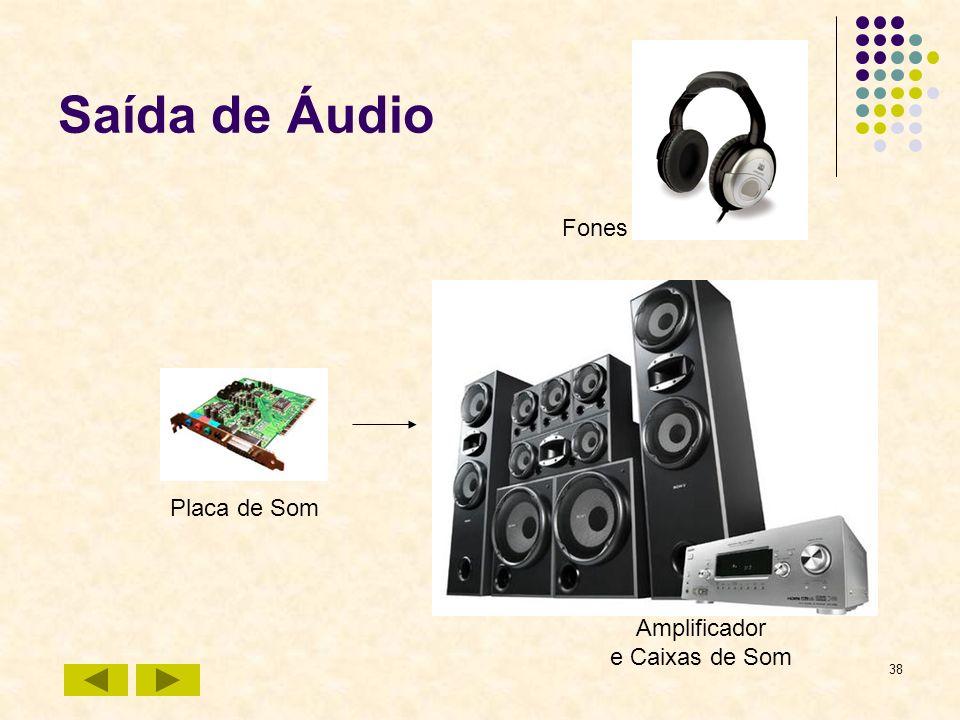 Saída de Áudio Fones Placa de Som Amplificador e Caixas de Som
