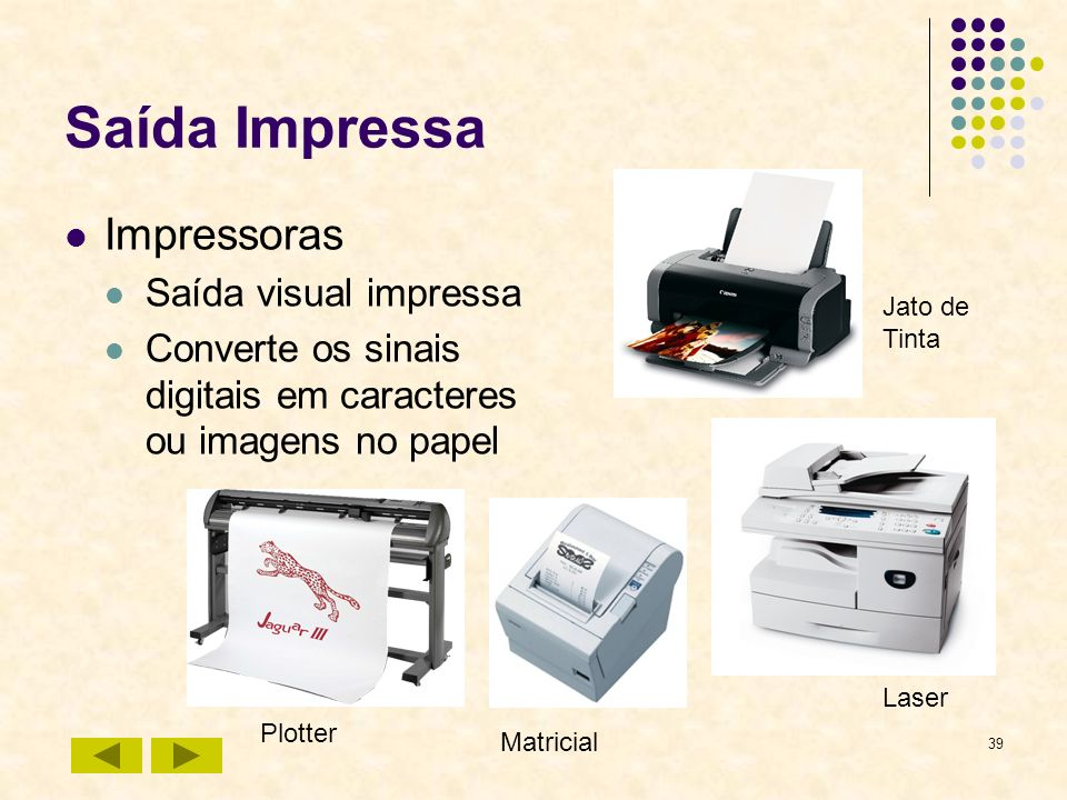 Saída Impressa Impressoras Saída visual impressa
