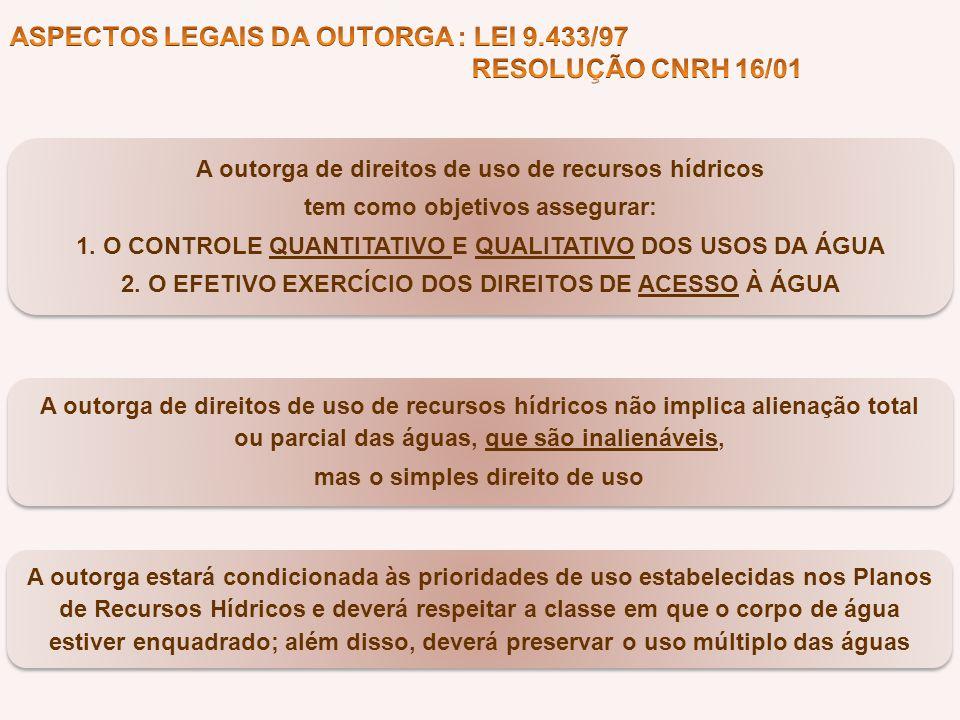 ASPECTOS LEGAIS DA OUTORGA : LEI 9.433/97 RESOLUÇÃO CNRH 16/01