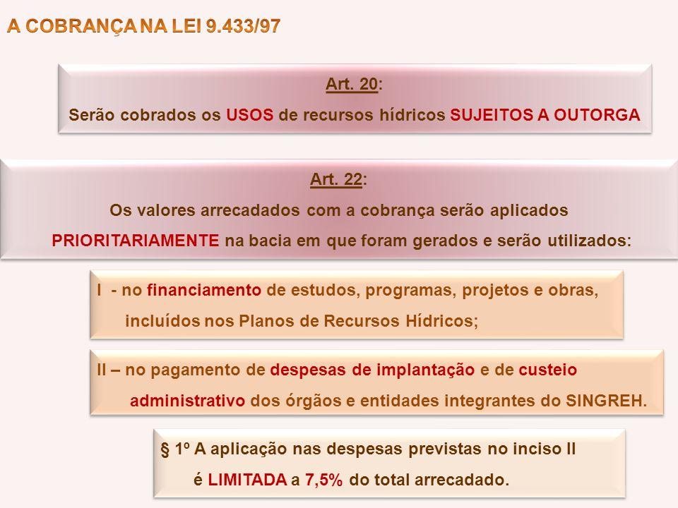 A COBRANÇA NA LEI 9.433/97 Art. 20: Serão cobrados os USOS de recursos hídricos SUJEITOS A OUTORGA.