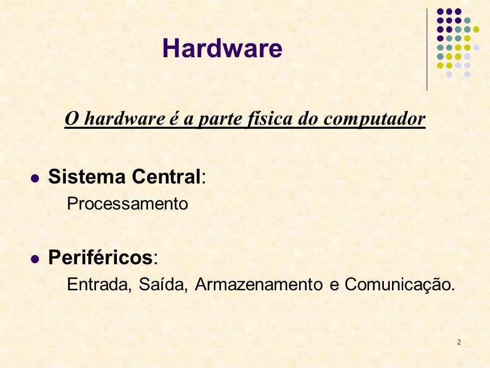 O hardware é a parte física do computador