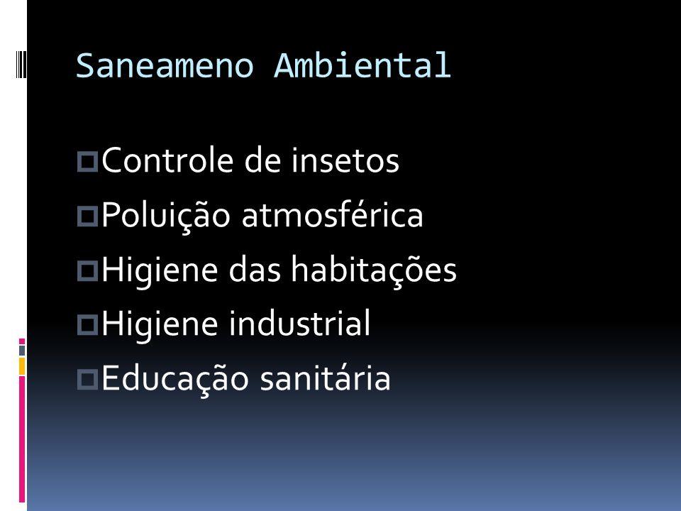 Saneameno Ambiental Controle de insetos. Poluição atmosférica. Higiene das habitações. Higiene industrial.