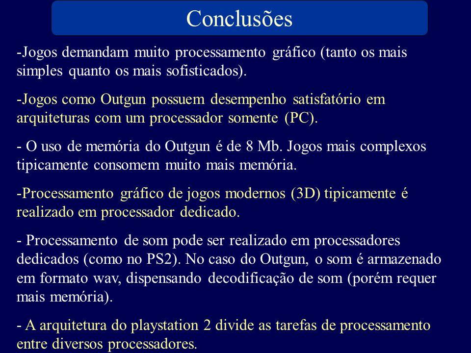 Conclusões Jogos demandam muito processamento gráfico (tanto os mais simples quanto os mais sofisticados).