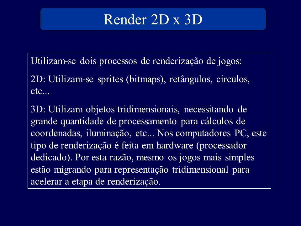 Render 2D x 3D Utilizam-se dois processos de renderização de jogos: