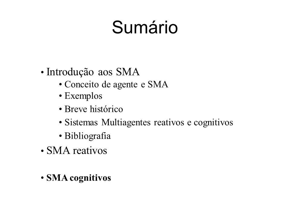 Sumário Introdução aos SMA Conceito de agente e SMA Exemplos
