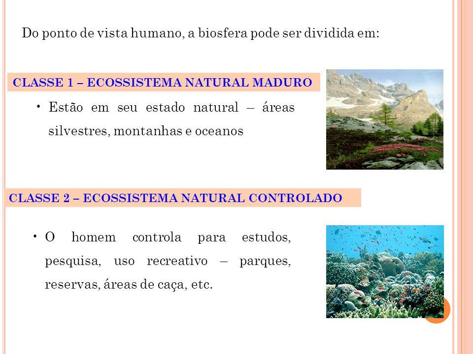 Do ponto de vista humano, a biosfera pode ser dividida em: