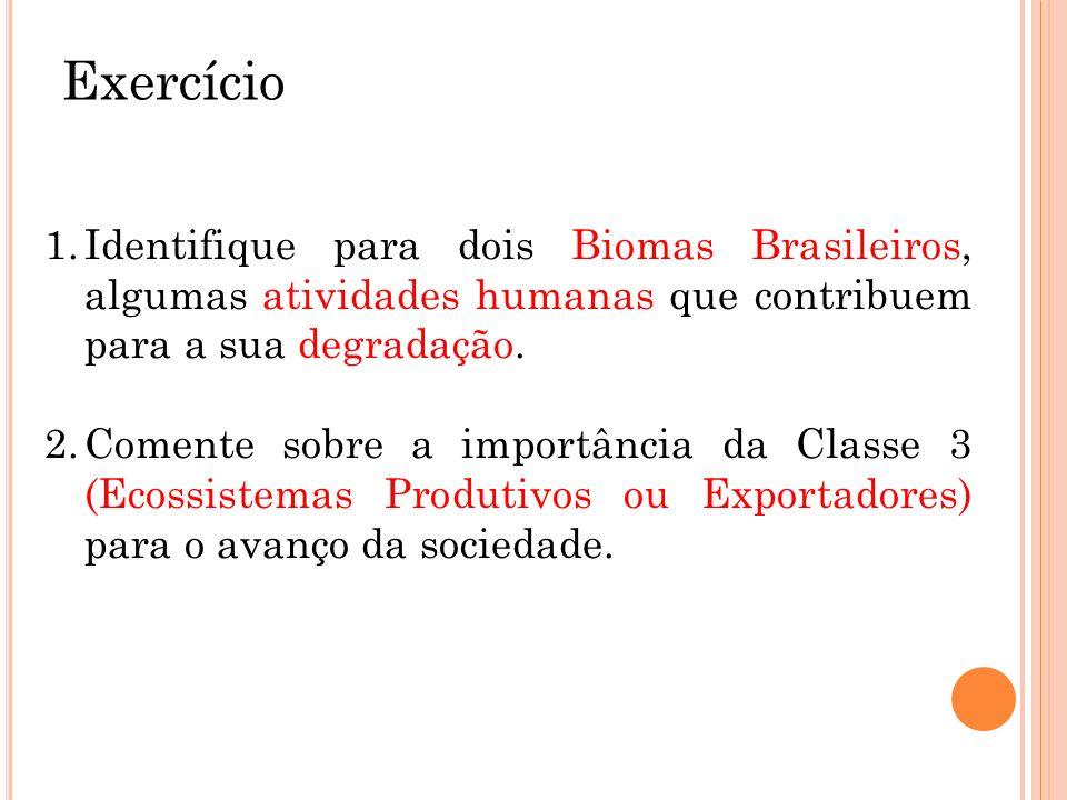 ExercícioIdentifique para dois Biomas Brasileiros, algumas atividades humanas que contribuem para a sua degradação.