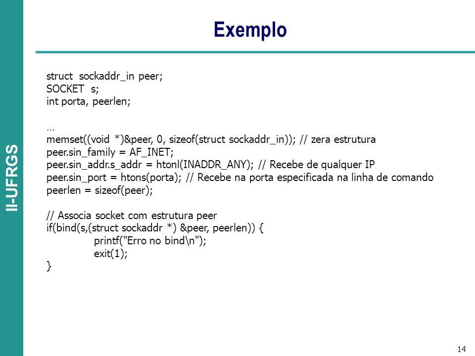 Exemplo struct sockaddr_in peer; SOCKET s; int porta, peerlen; …
