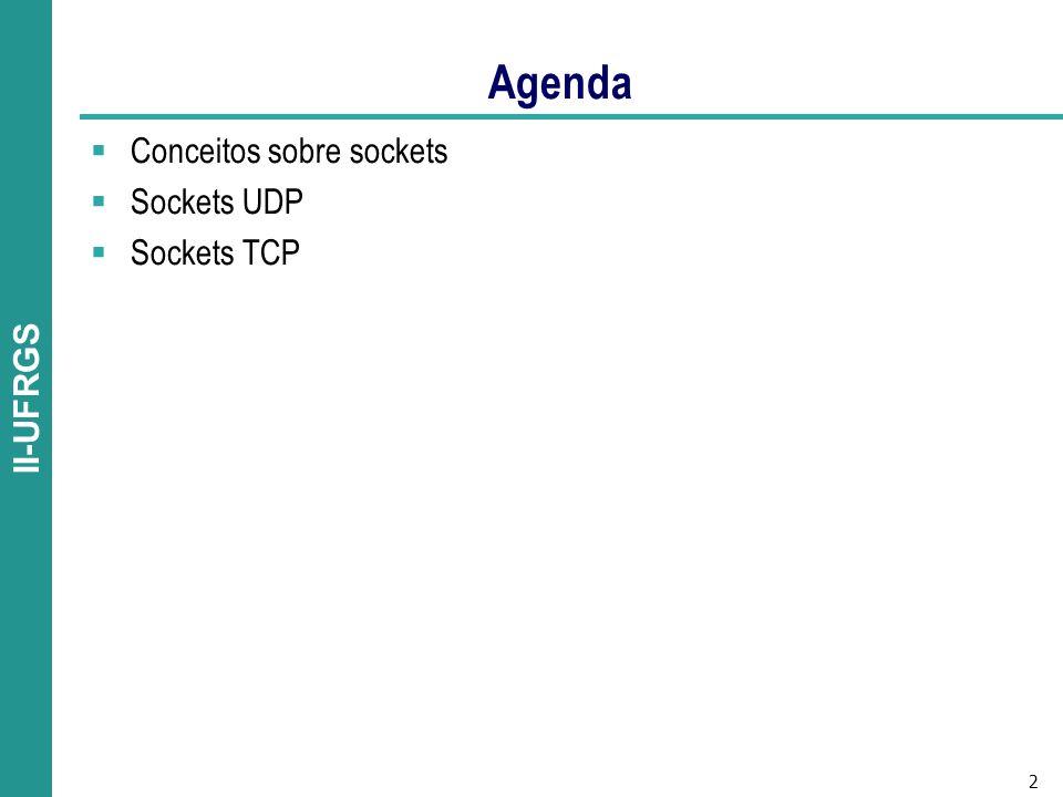 Agenda Conceitos sobre sockets Sockets UDP Sockets TCP