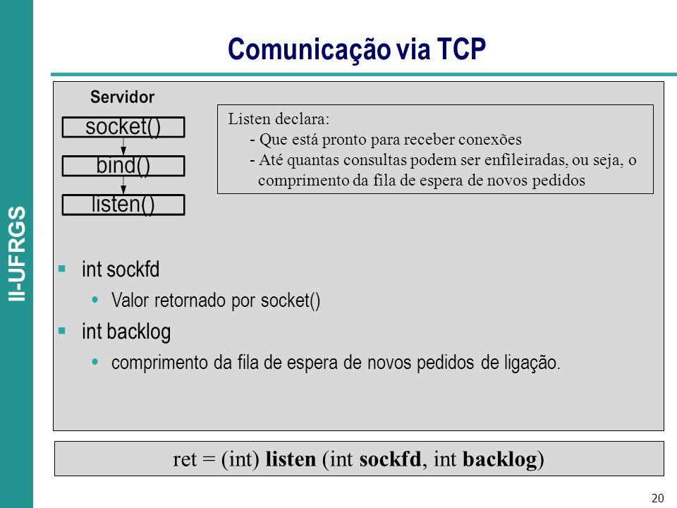 ret = (int) listen (int sockfd, int backlog)