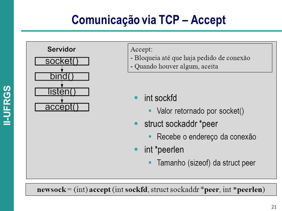 Comunicação via TCP – Accept
