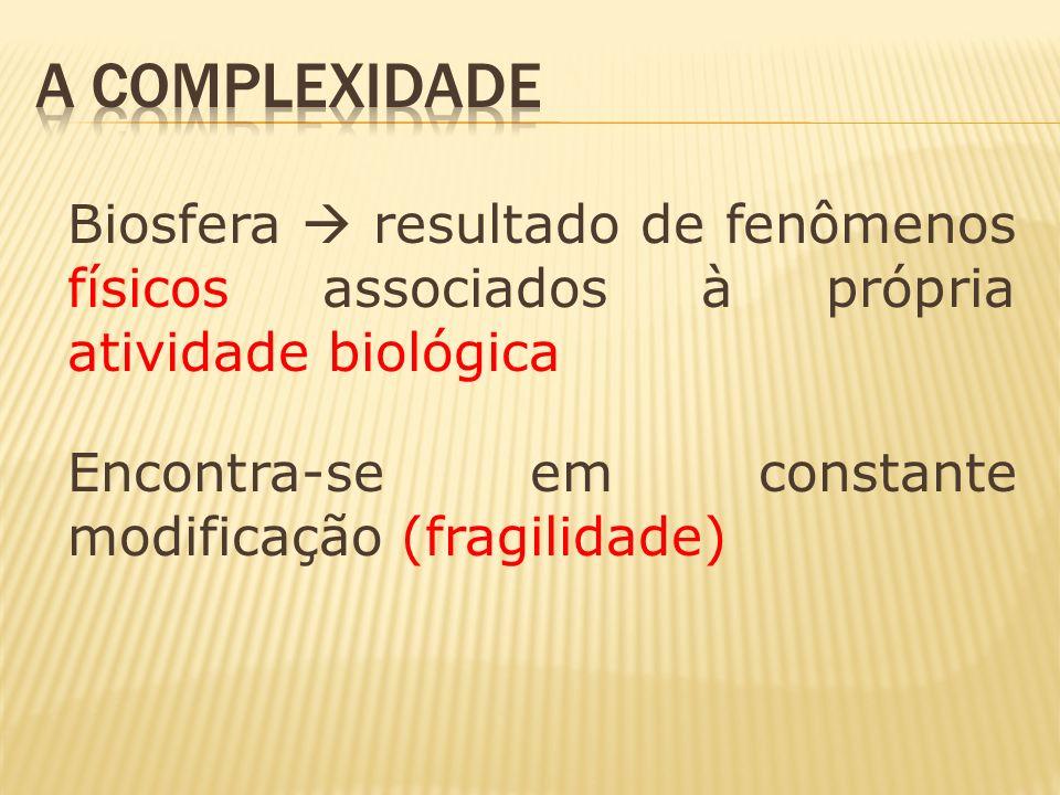 A Complexidade Biosfera  resultado de fenômenos físicos associados à própria atividade biológica.