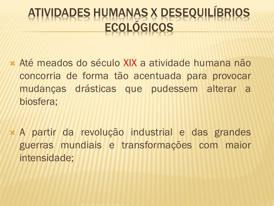 Atividades Humanas X Desequilíbrios Ecológicos