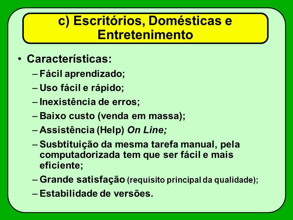 c) Escritórios, Domésticas e Entretenimento