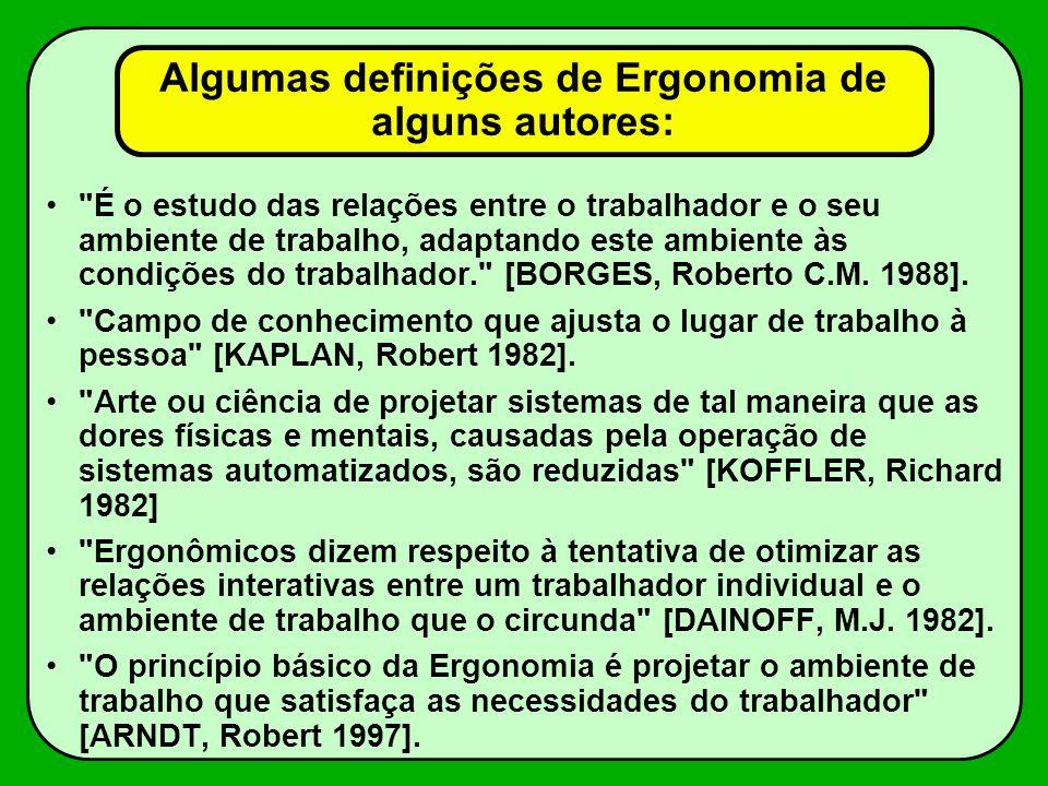 Algumas definições de Ergonomia de alguns autores: