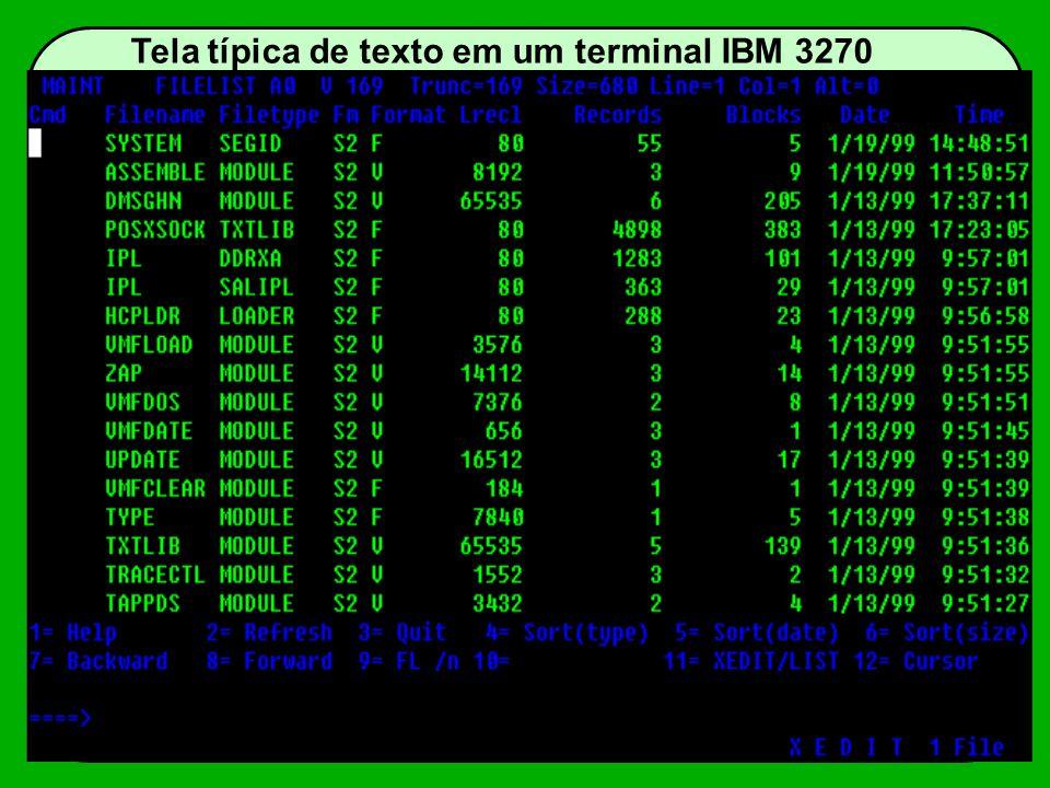 Tela típica de texto em um terminal IBM 3270