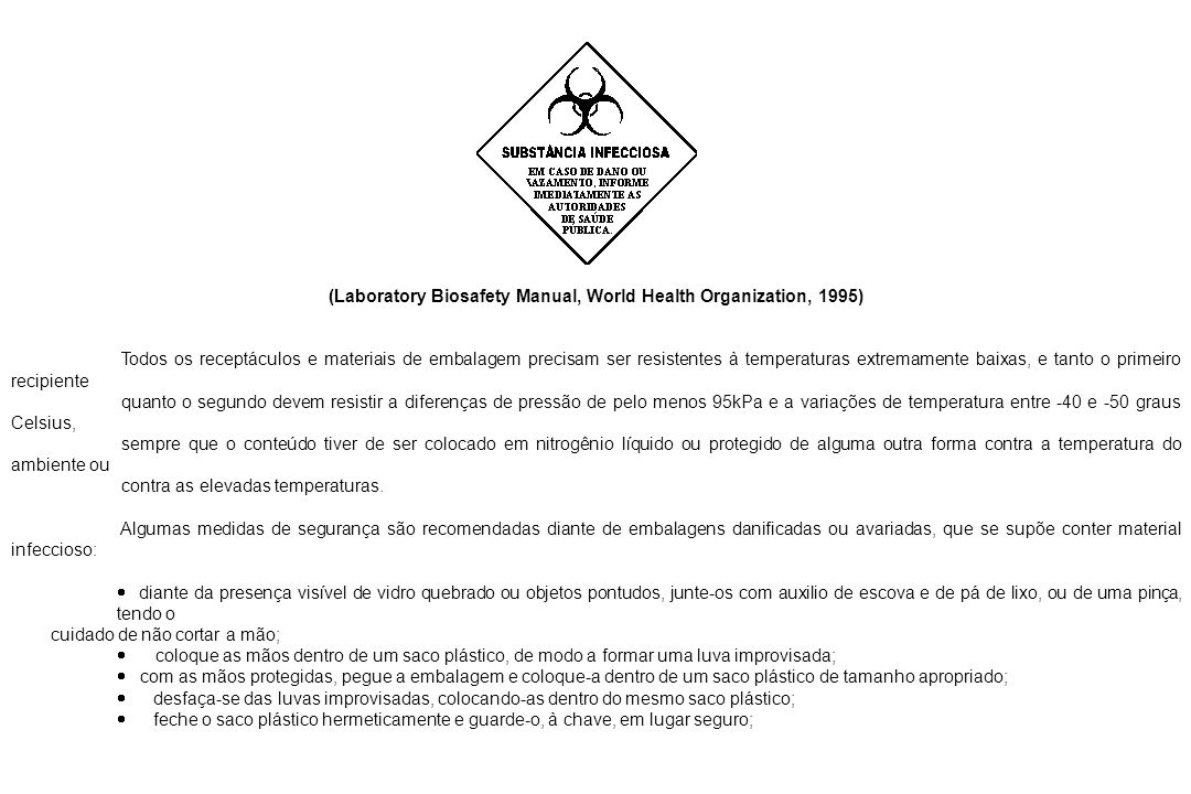 (Laboratory Biosafety Manual, World Health Organization, 1995)