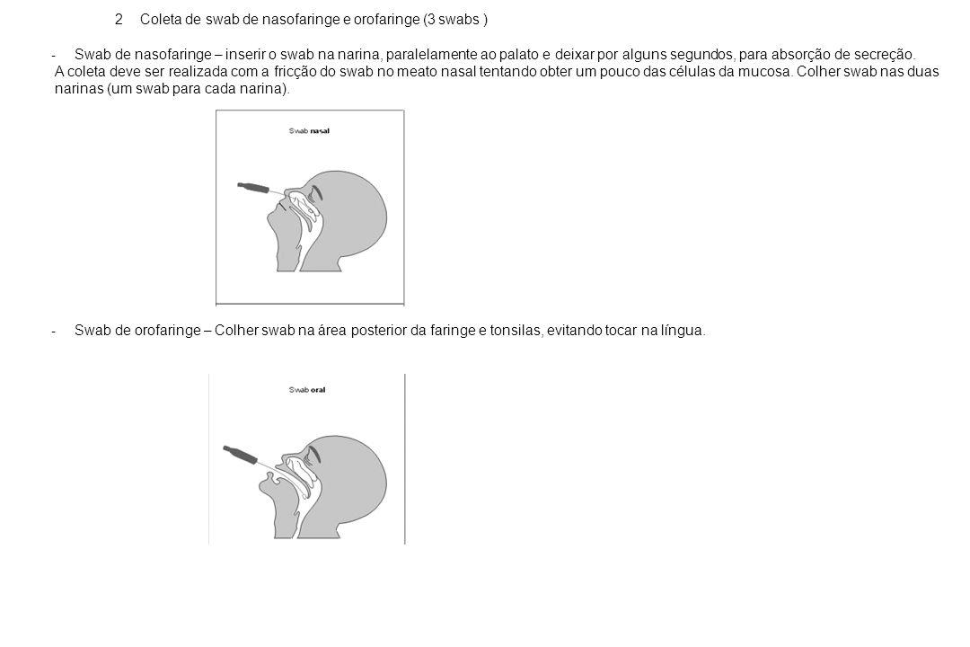 2 Coleta de swab de nasofaringe e orofaringe (3 swabs )