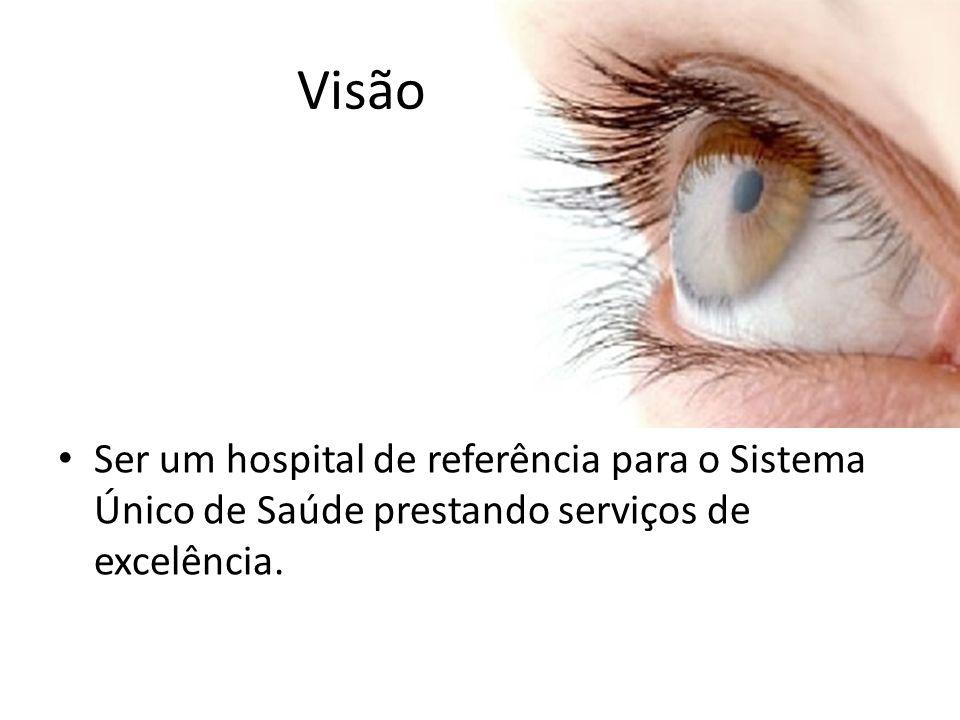 Visão Ser um hospital de referência para o Sistema Único de Saúde prestando serviços de excelência.