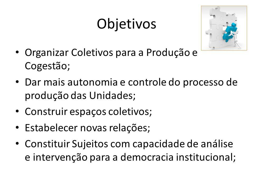 Objetivos Organizar Coletivos para a Produção e Cogestão;