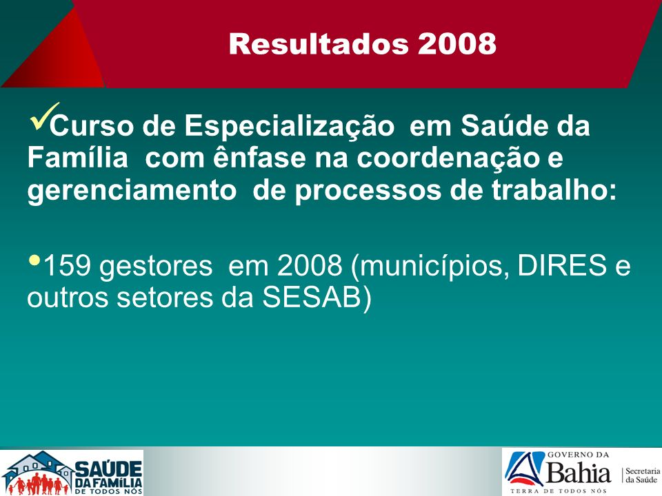 Resultados 2008Curso de Especialização em Saúde da Família com ênfase na coordenação e gerenciamento de processos de trabalho: