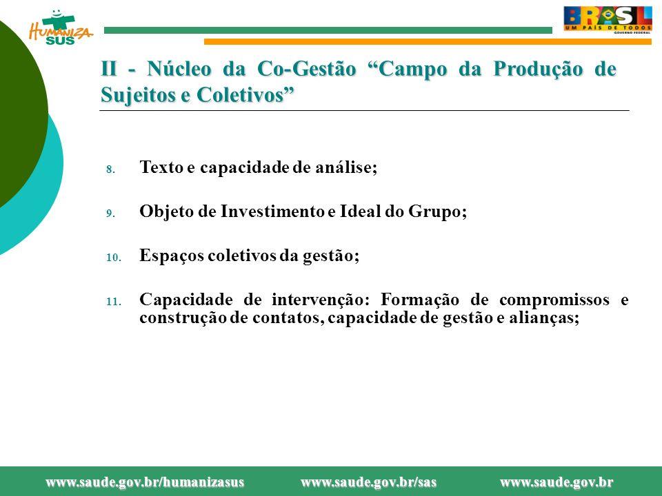 II - Núcleo da Co-Gestão Campo da Produção de Sujeitos e Coletivos