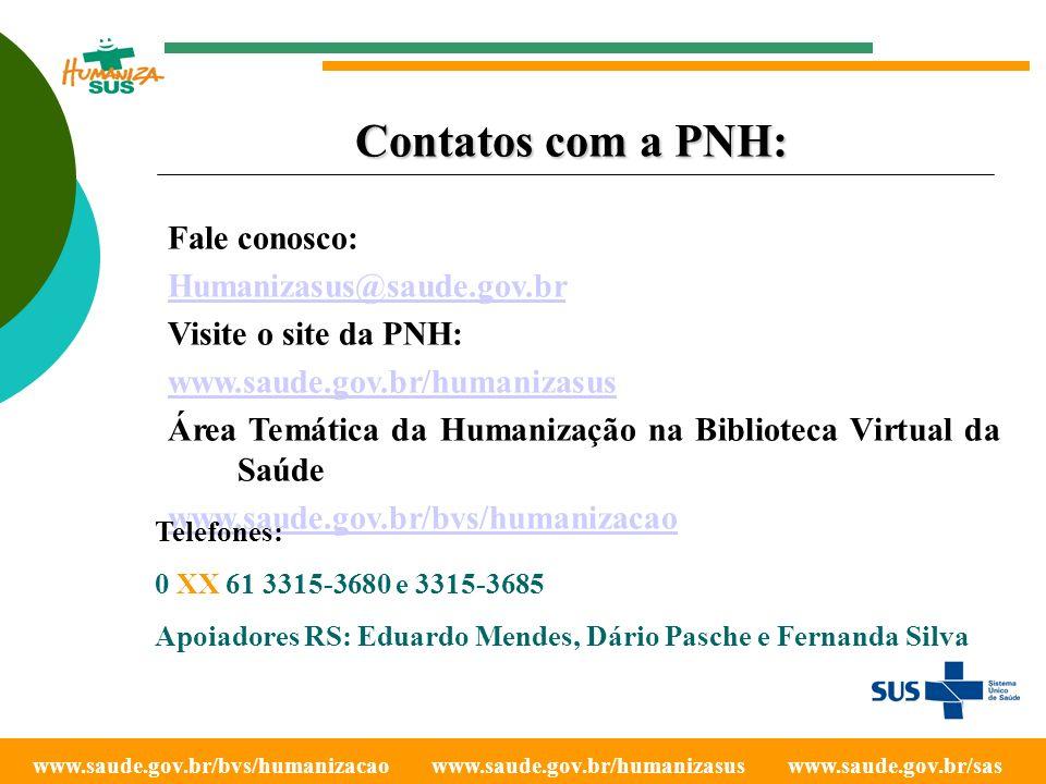 Contatos com a PNH: Fale conosco: Humanizasus@saude.gov.br