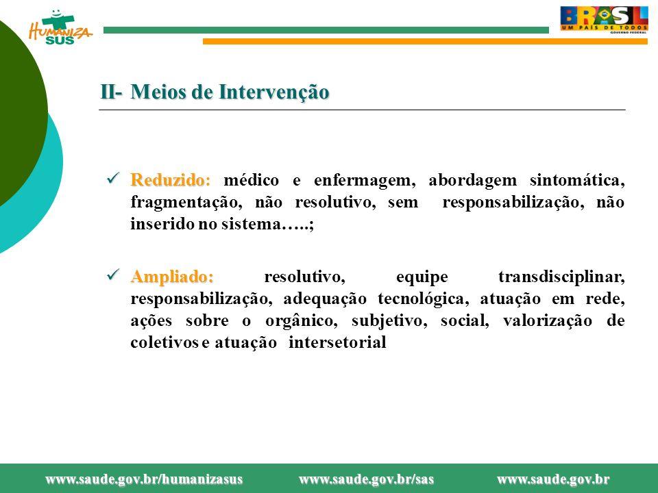 II- Meios de Intervenção